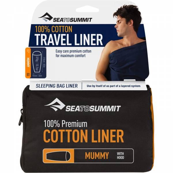 Sea to Summit Cotton Liner Mummy Hood navy blue - Bild 1